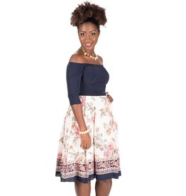 Three quarter Sleeve Fit and Flare Dress