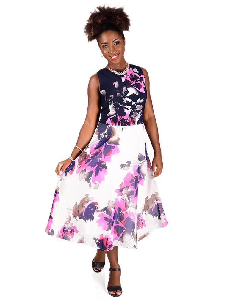 Printed Sleeveless Full Length Dress With Chiffon Bottom