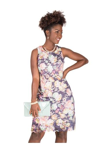 CELESTE-Floral Print Broad Strap Dress