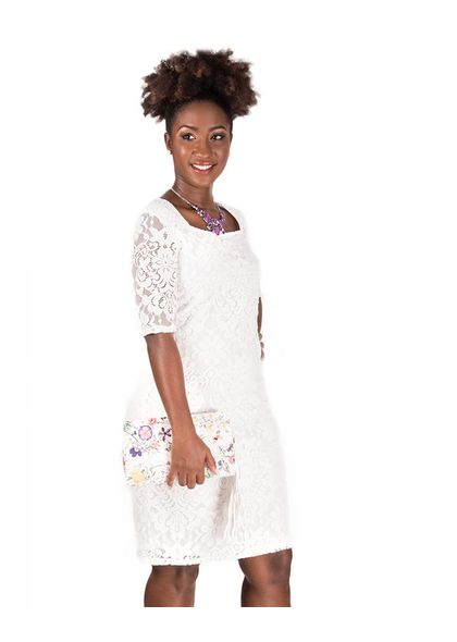 CALLA-Lace Overlay Three quarter Sleeve Dress