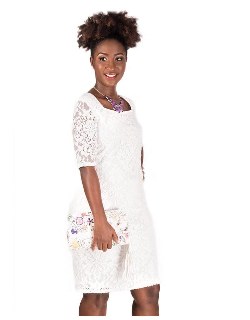 CALLA-Lace Overlay Three quarter Sleeve Dress