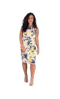 Floral Print Sleeveless Dress with Slits at Shoulder
