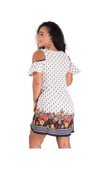 Printed Cold Shoulder Dress with Border