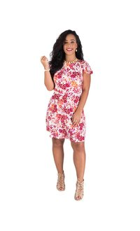Printed Cap Sleeve Dress with Ruffle Trim & V-Back