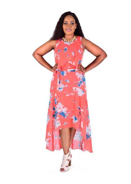 Printed Layered High Low Chiffon Dress
