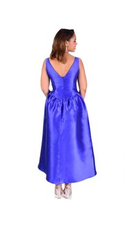 Satin High Low Dress with Bejeweled Waist