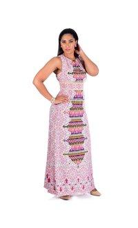 IDALIA-Printed Maxi Dress with Pleats @ Neck