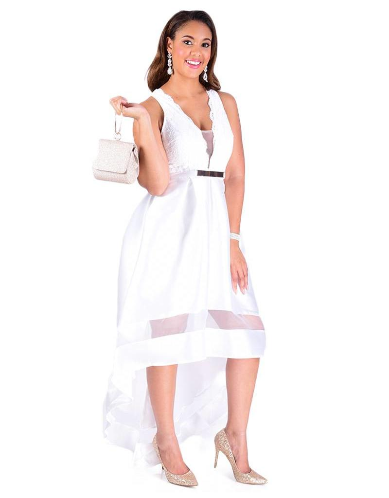 High Low Dress with Invisible Neckline