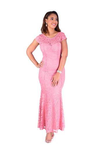 Cap Sleeve Full Length Lace Gown with Glitter