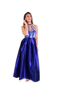 TULIP- Full Length Halter Mesh Top Gown
