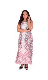 IDALIA-Printed Pleats Maxi Dress