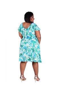 ISA-Plus Size Printed Cap Sleeve Dress with Ruffle At Back