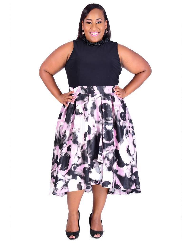 HETTY-Bejeweled Printed Bottom HI-LO Dress