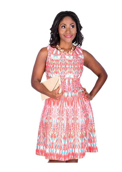USHA-Printed Sleeveless Fit & Flare Dress