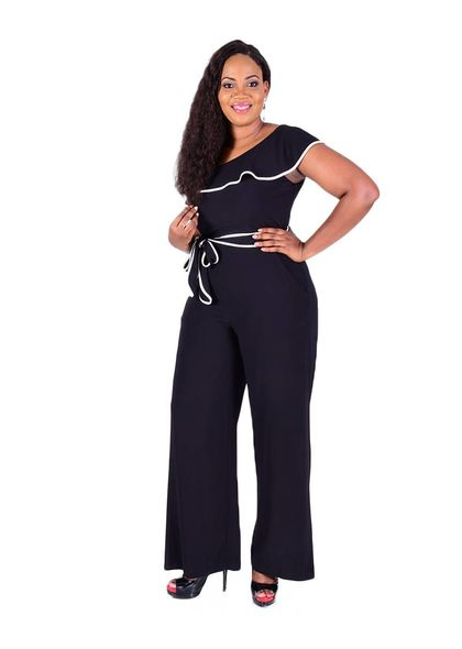 RIKI-Cold Shoulder Jumpsuit with Frill