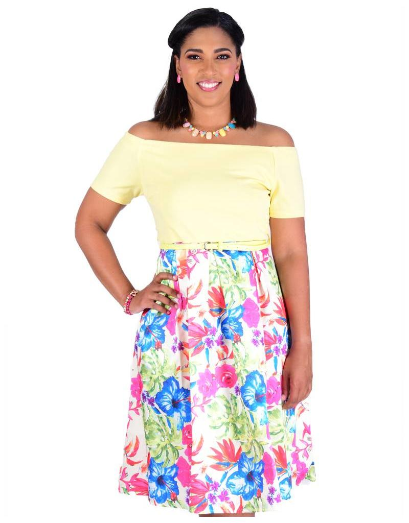 SIERRA-Floral Printed Fit and Flare Dress with Scuba Top