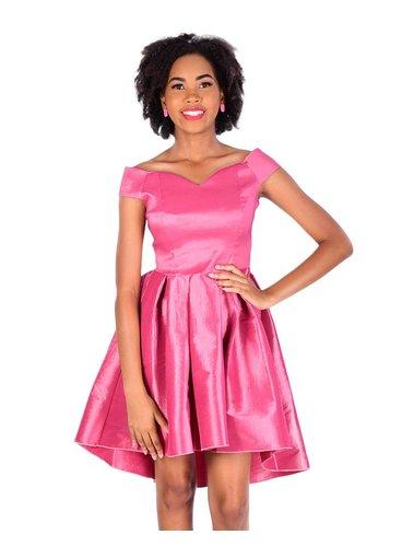 Petite Off the Shoulder High Low Dress