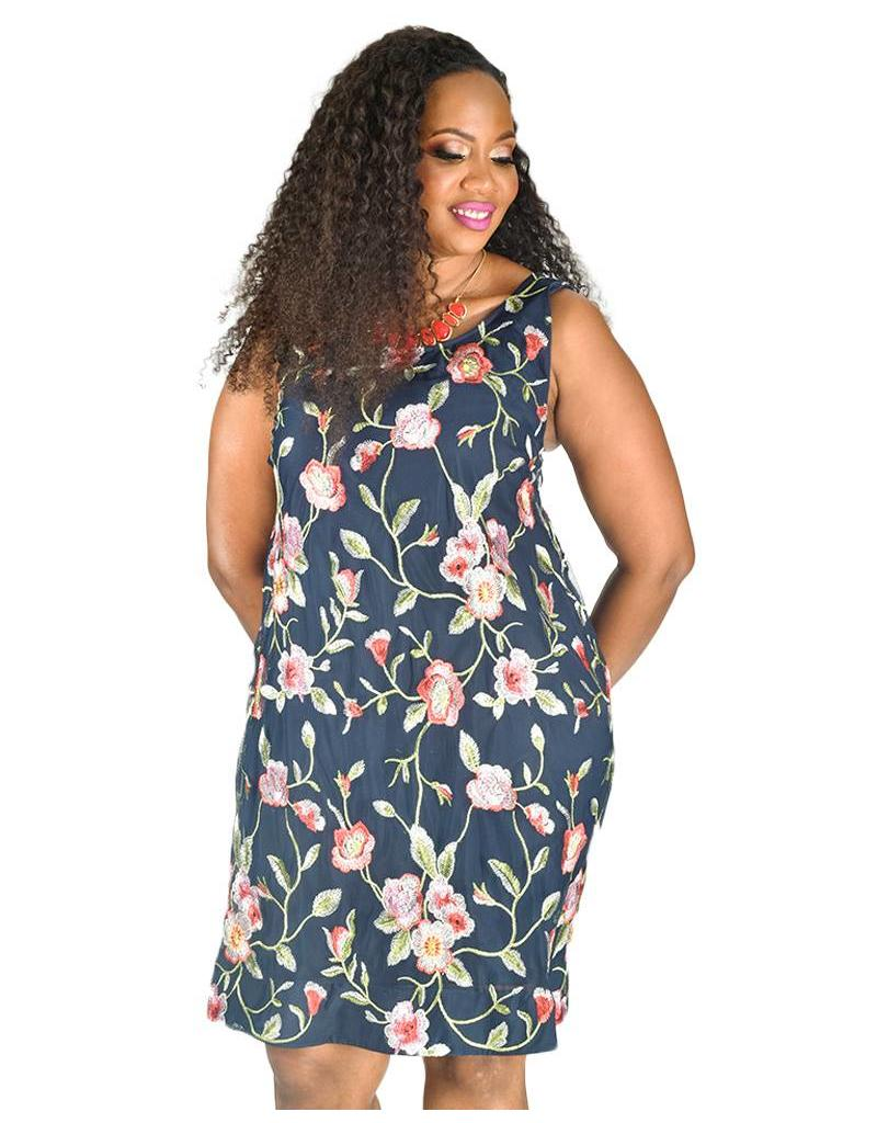 Signature Plus Size Embroidered Armhole Dress