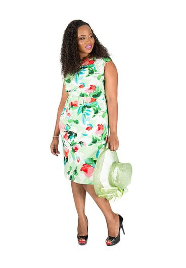 IMOGEN-Plus Size Printed Cap Sleeve Dress