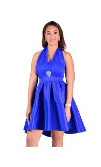 Petite Halter High Low Dress With Taffeta Bottom