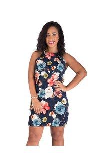 Floral Print Halter Dress with Keyhole Back