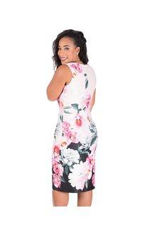 Large Floral Print Scuba Dress