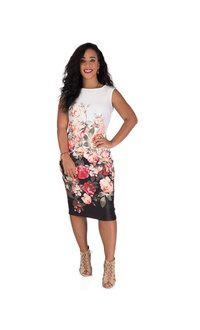 Printed Midi-Length Scuba Dress