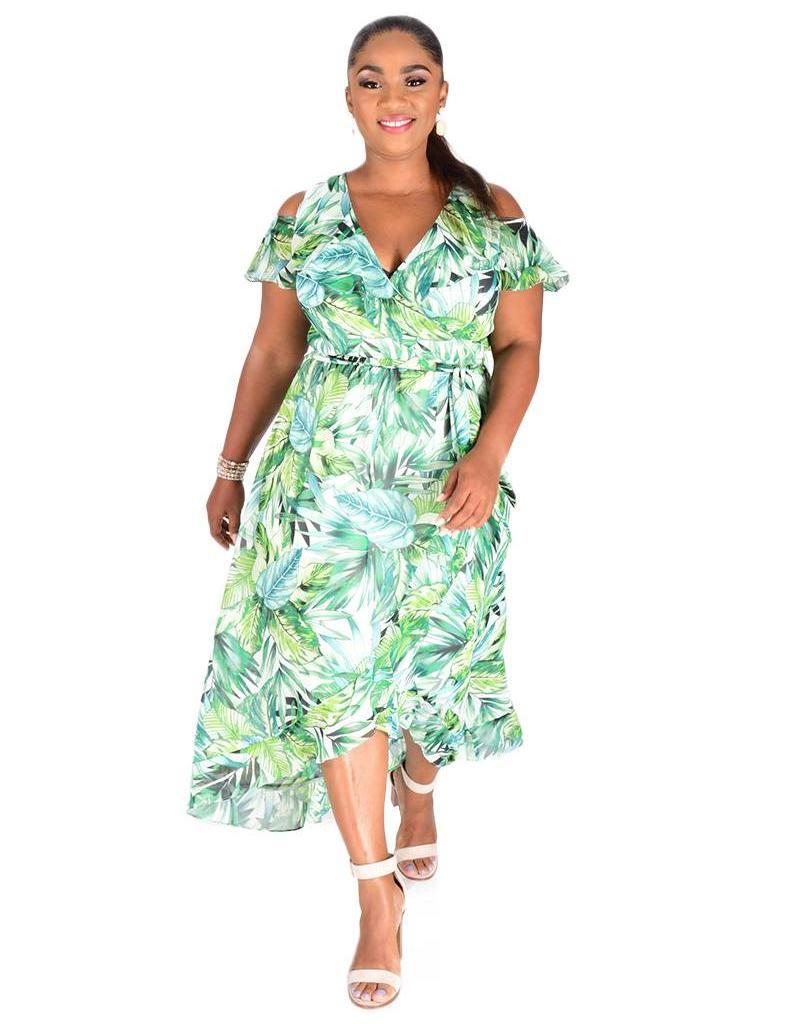 FLORI-Palm Print Hi-LO Cold Shoulder Dress