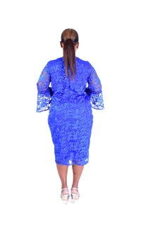 MAGNOLIA-Floral 3/4 Bell Sleeve Round Neck Dress