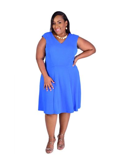 XANTHE- Plus Size Cap Sleeve Fit and Flare V-neck Dress