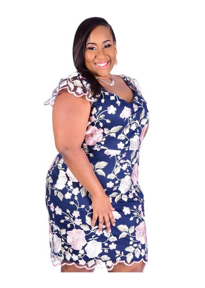 MAY-Plus Size Embroidered Dress
