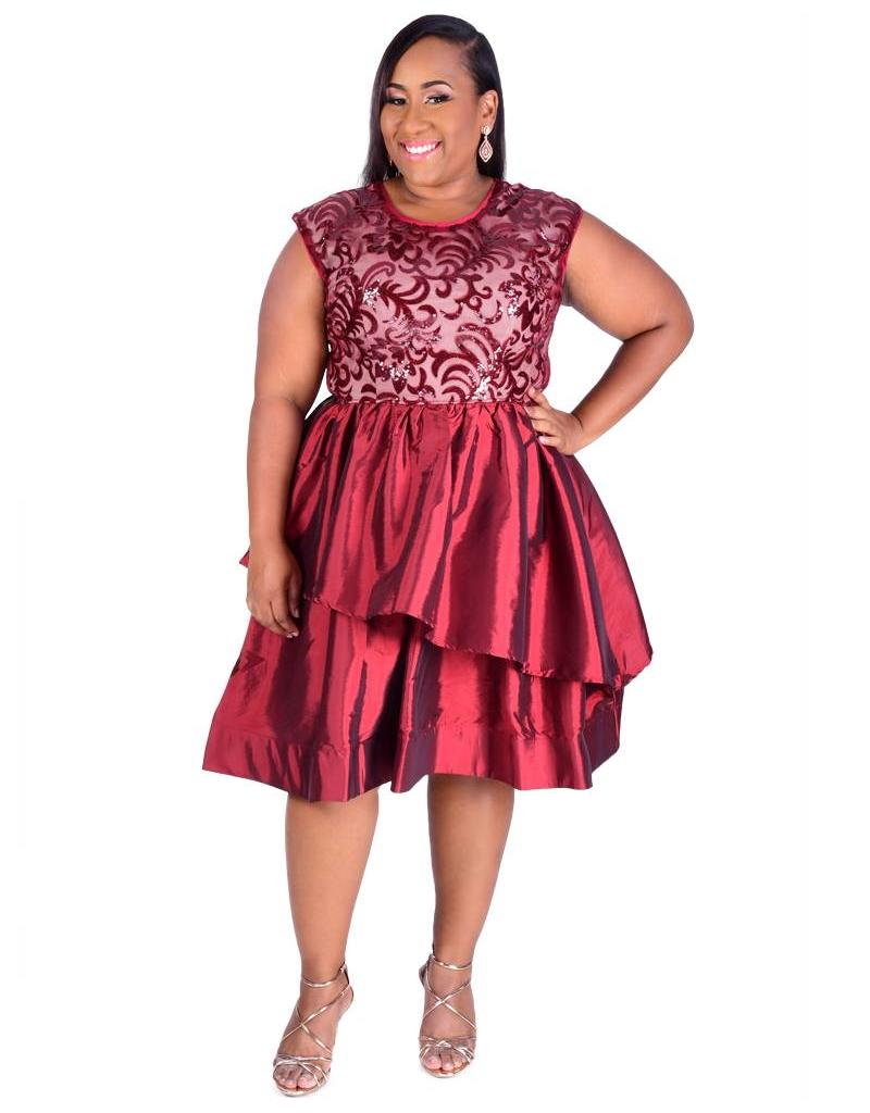 Plus Size Cap Sleeve Sequinned Two Flounce Dress