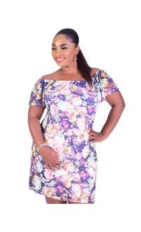 CAMILLE-Floral Print Off the Shoulder Dress