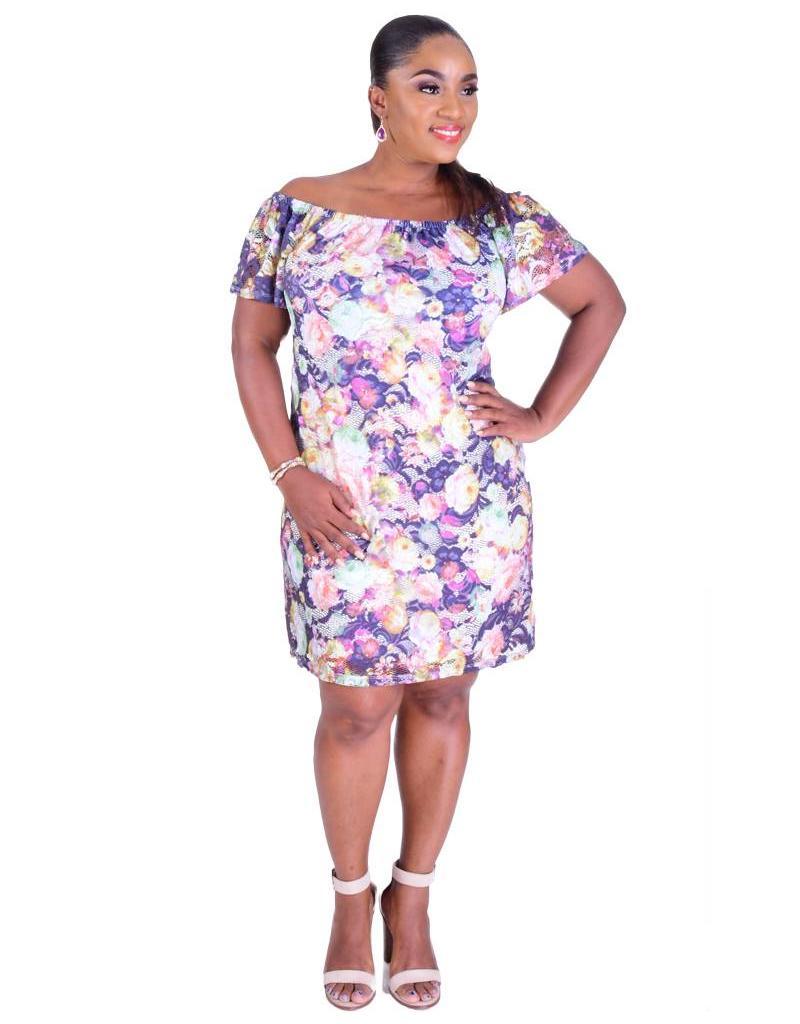 CAMILLE-Floral Print Off the Shoulder Dress