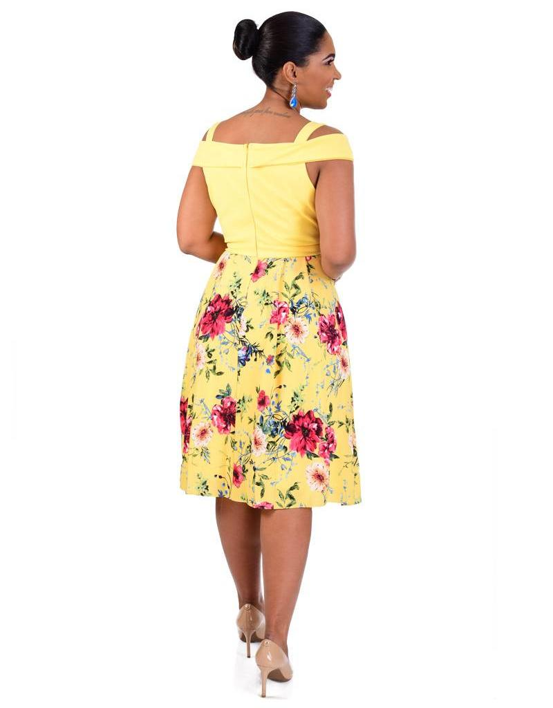 RABIA-Printed Fit & Flare Dress with Cold Shoulder Cut Outs