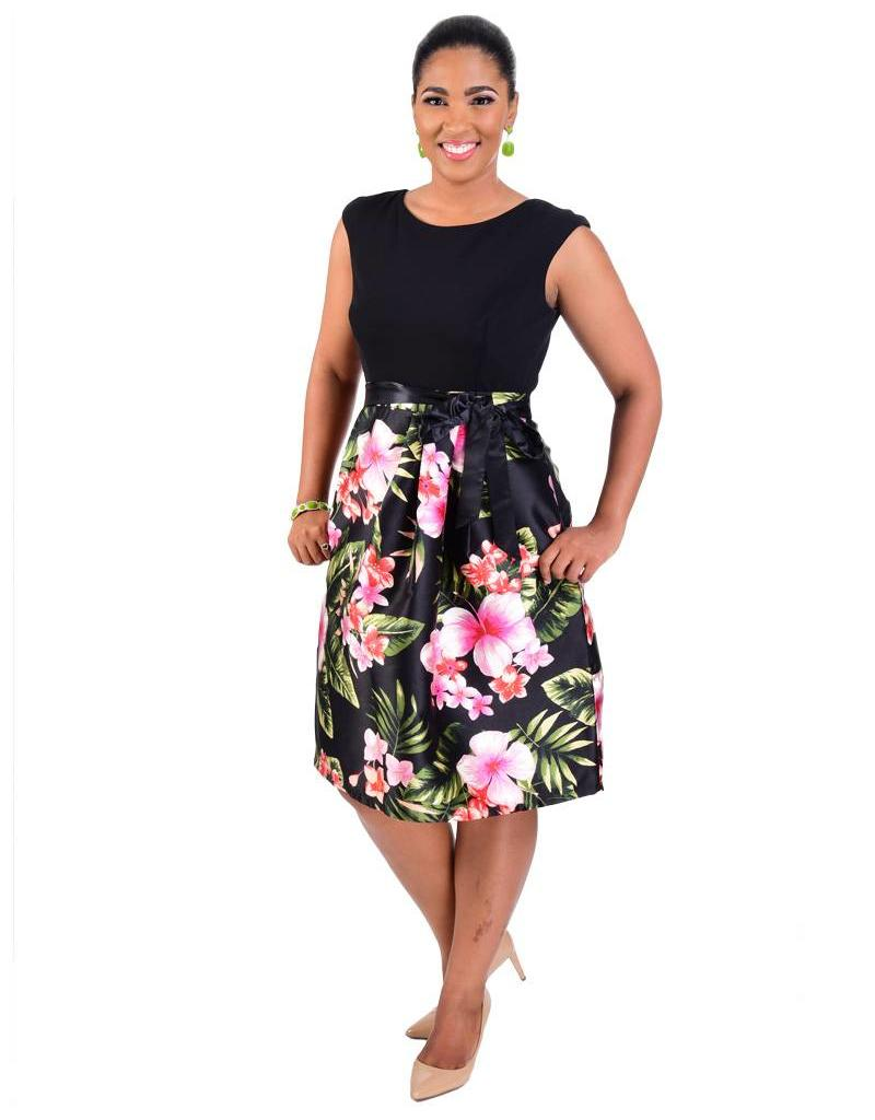 SABRINA-Printed Fit and Flare Dress