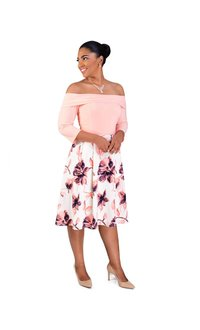RABANNE-Floral Skirt ITY Top 3/4 Sleeve Dress