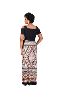 ILEEN-Printed Maxi Dress with Shoulder Cutouts