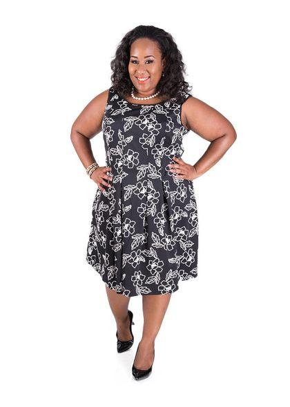 Carol Wren Puff Print Dress With Box Pleats