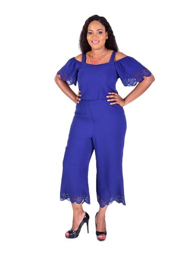 Robbie B Off Shoulder Jumpsuit With Lazer Cuts