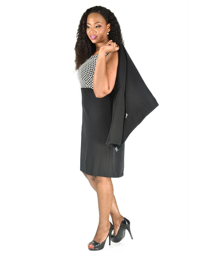 Voir Long Sleeve Jacket and Color Block Dress