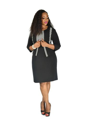 Voir Long Sleeve Jacket and Color Block Dress