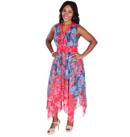 FLEUR-Printed Handkerchief Bottom Dress With Elastic Waist