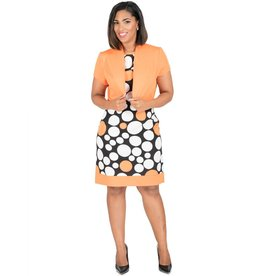 Circle Print Dress With Solid Jacket
