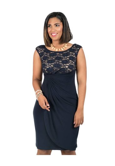 Lace Overlay Dress with Contrast
