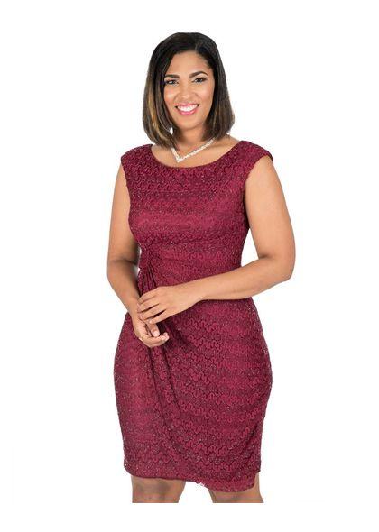 Maria Christina Lace Faux Wrap Dress
