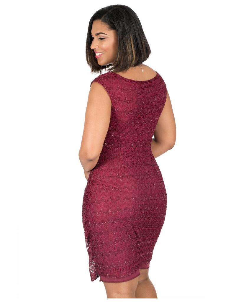 Maria Christina Lace Faux Wrap Dress