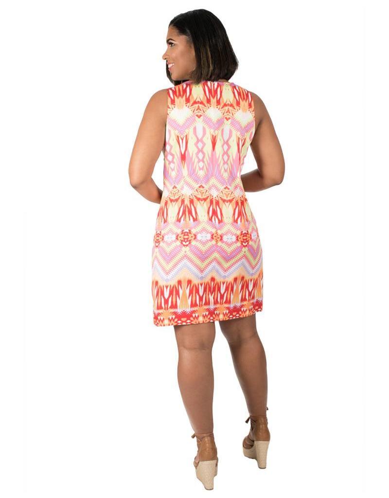 Cotton Printed Armhole Sheath Dress