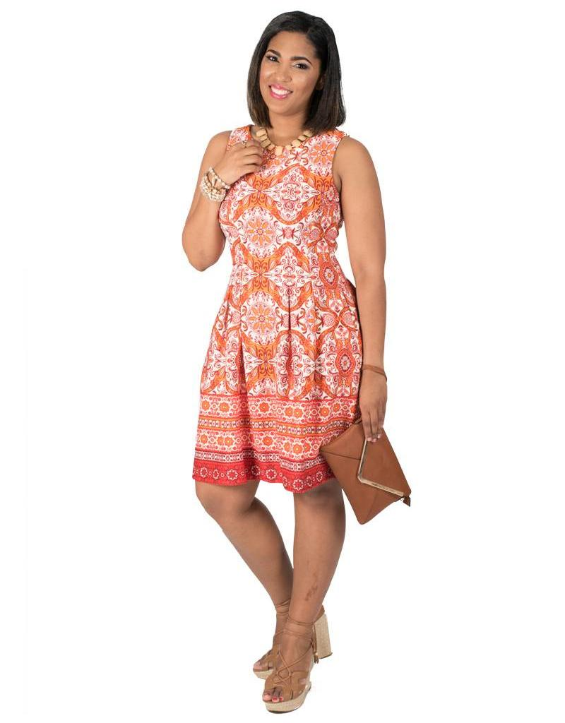 Printed Scuba Fit and Flare Dress