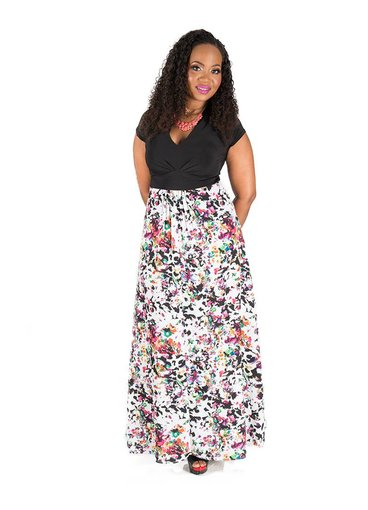 Full Length Color and Print Dress